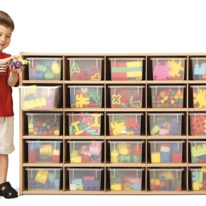 Young Time® 25 Cubbie-Tray Storage – with Clear Trays – RTA